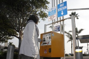 Electronic parking pay stations similar to this one in Laguna Beach have been approved for installation in the parking lot next to the Balboa Pier