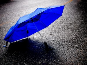 Blue-Umbrella-In-The-Rain
