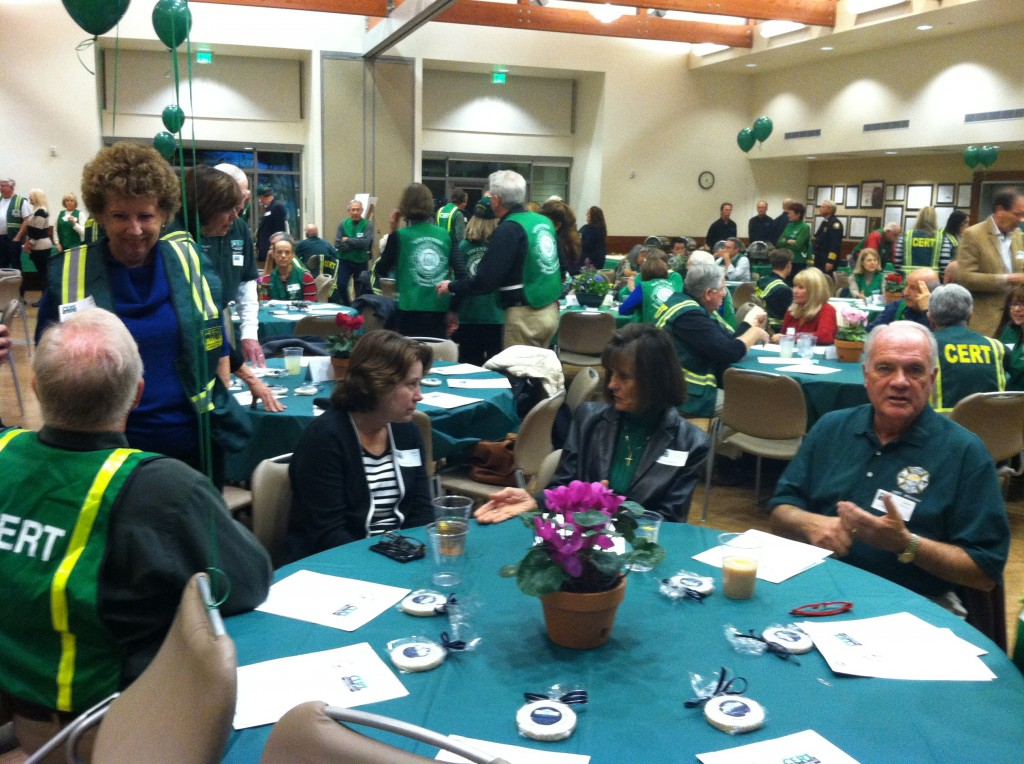 Volunteers mingle at the event.