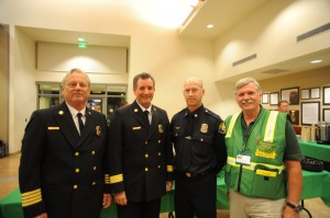 (left to right) NBFD Assistant Fire Chief Kevin Kitch, NBFD Chief Scott Poster, CERT Instructor of the Year-Fire Captain Keith Winokur, and CERT volunteer Doak Hefner.