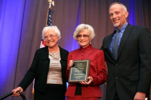 (left to right) Former Mayor Evelyn Hart, SUNshine Award winner, retired state Senator, Marian Bergeson, and city manager Dave Kiff.