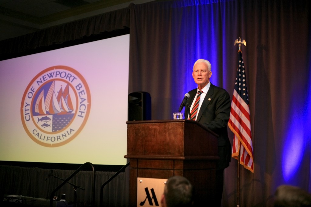 """Mayor Rush Hill gives his """"State of the City"""" speech during Speak Up Newport's 33rd Mayor's Dinner on Feb. 7."""