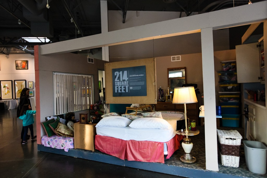 The 214-square-foot exhibit demonstrates a typical motel room a homeless family lives in Orange County.