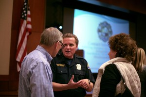 Newport Beach Community Preparedness Coordinator, Matt Brisbois, speaks with residents after the workshop.