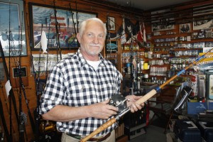 JD Doughty holds one of his hand-crafted rods