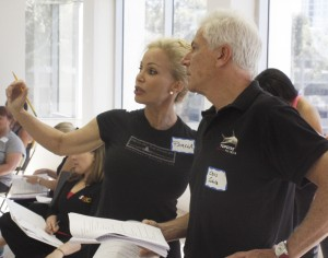 CHOC Follies cast members Pamela Roossin and Chris Schulz discuss a musical number during a break in a rehearsal