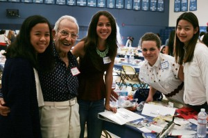 (left to right) Milan Francisco, 15, U.S. Air Force WWII veteran James Powers, 93, of Irvine, Hannah Crane, 16, Kendra Elieff and Cindy Lu, both 15, pose for a group photo after the luncheon Thursday.