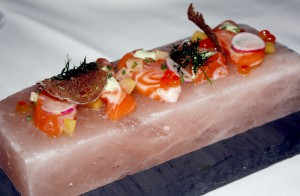 """Live on Stage"" Scottish salmon on Himalayan salt ""stage"""