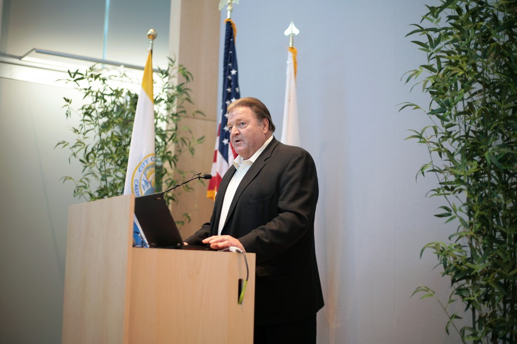Garry Brown, founder and president of Orange County Coastkeeper, discusses the organization and coastal issues at the Speak Up Newport meeting on Wednesday. — Photo by Sara Hall