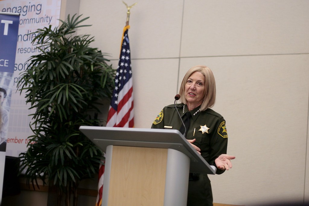 Orange County Sheriff Sandra Hutchens speaks at the Chamber of Commerce's monthly Wake Up! Newport meeting on Thursday. — Photo by Sara Hall