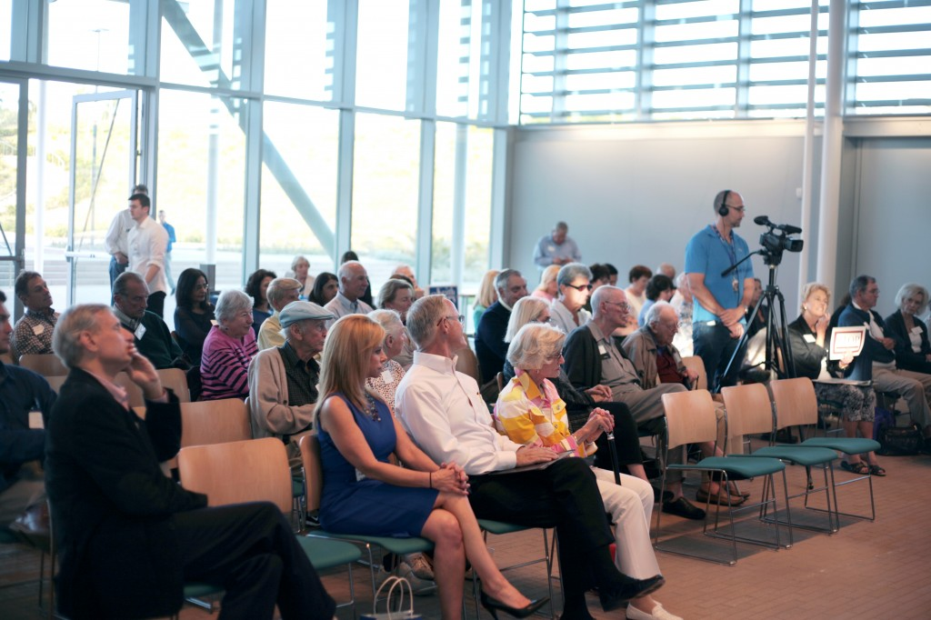 Guests listen to the SUN candidate forum on Wednesday.