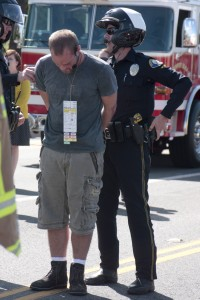 "Ricker Hausam is ""arrested"" for driving under the influence as part of the staged drunk driving accident demonstration held Tuesday at CdM."