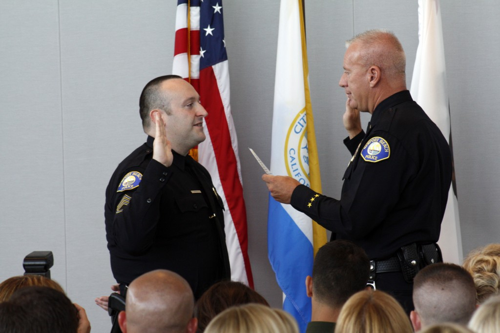 Sgt. Peter Carpentieri is sworn in.