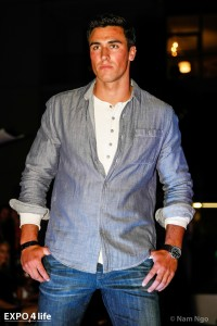 A professional model wearing AG Jeans at last year's show.