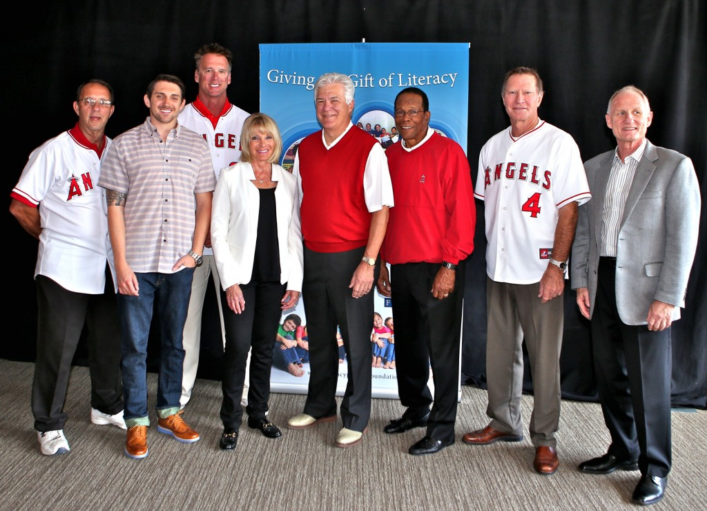 L to R: Clyde Wright, J.R. Galardi, Chuck Finley, Cindy Galardi Culpepper (Galardi Group Inc. Chairperson & CEO), Angels Baseball Chairman Dennis Kuhl, Rod Carew, Bobby Grich, Tom Amberger (VP Marketing for Galardi Group Inc.).