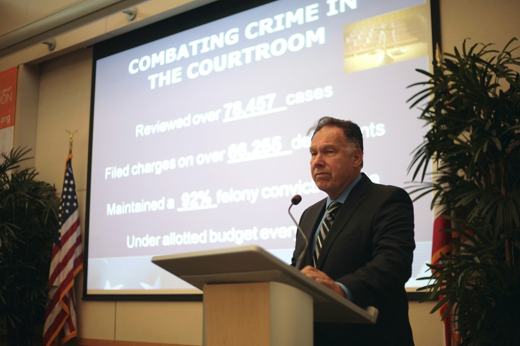 Orange County District Attorney Tony Rackauckas speaks at the Chamber of Commerce's monthly Wake Up! Newport meeting on Thursday.