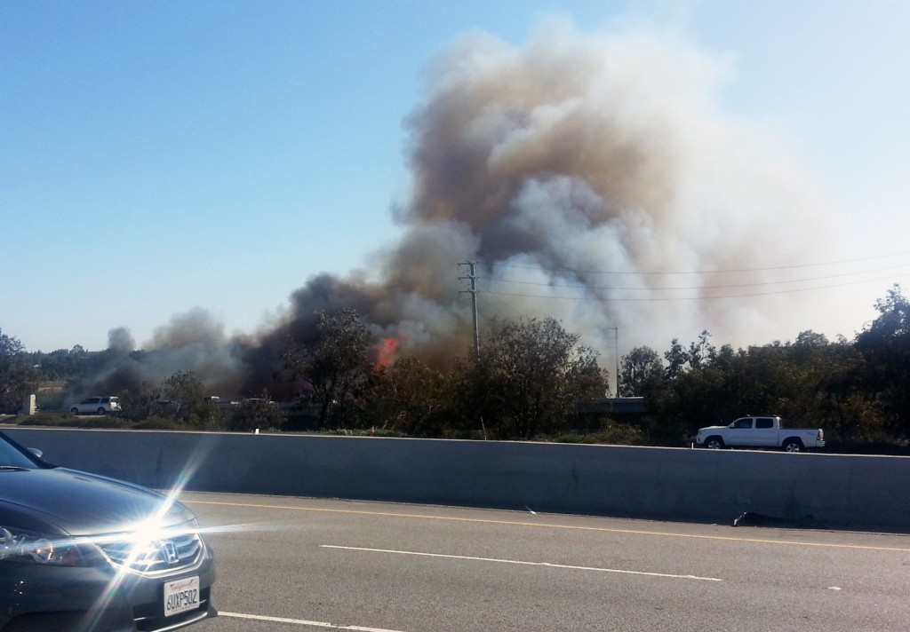 The vegetation  fire near Jamboree Road and Bayview Way on Wednesday afternoon. — All photos by Christopher Trela