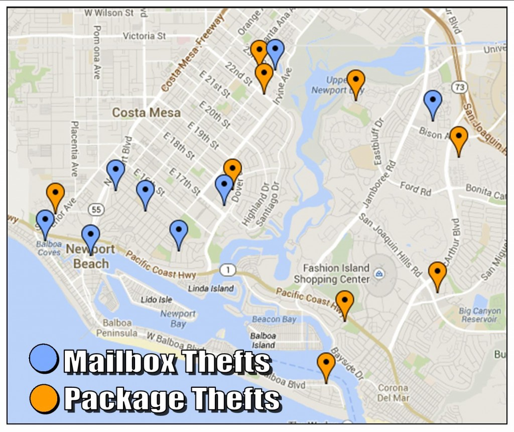 A map of recent mail and package thefts — Photo courtesy Newport Beach Police Department ©