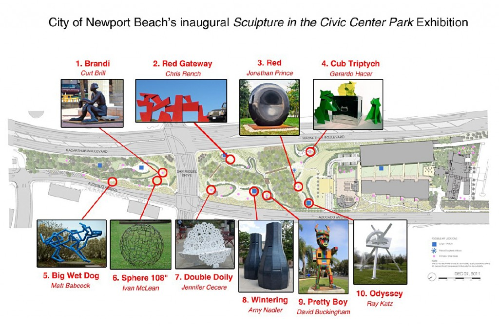 The 10 approved sculptures and their locations within Civic Center Park. Click to enlarge. — Photo courtesy city of Newport Beach