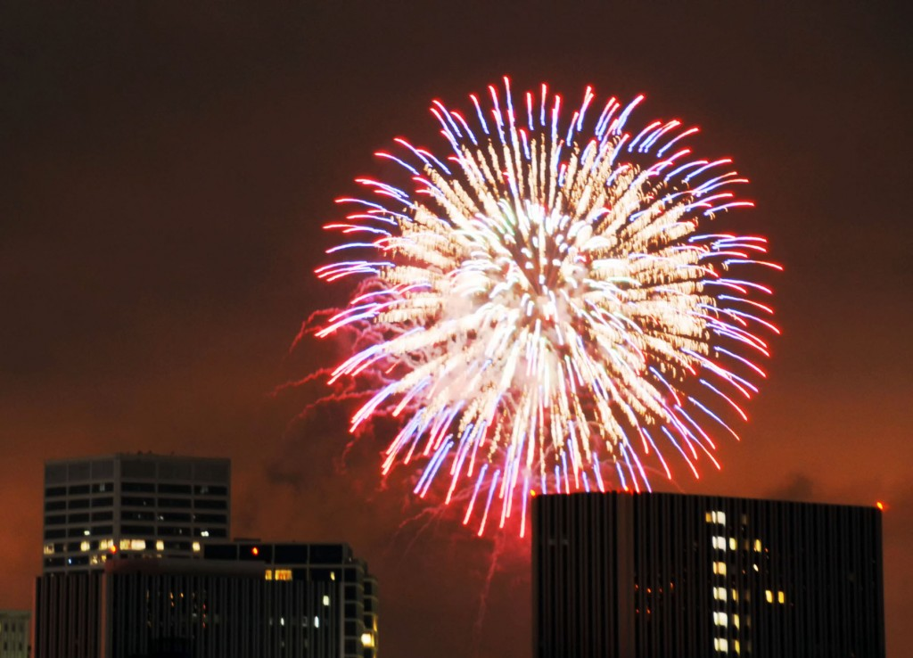 Fireworks over Fashion Island. — Photo by Lawrence Sherwin ©