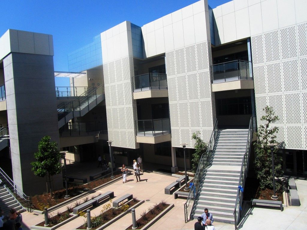 The view of the center from the two-story classroom and lab building