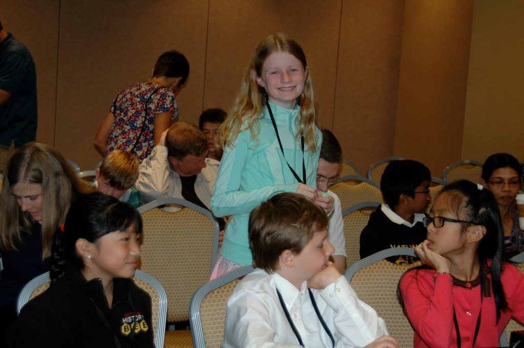 Harbor Day School student Jean Wanlass at the National History Bee.  — Photo courtesy Harbor Day School ©