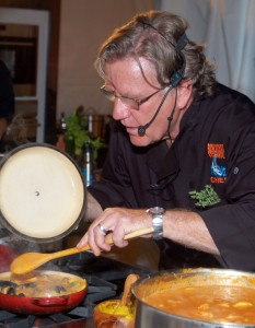 Chef Pascal Olhats, doing a cooking demo at the 2012 Taste of Newport.