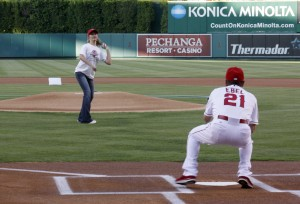 Michelle Wulfestieg throws out first pitch