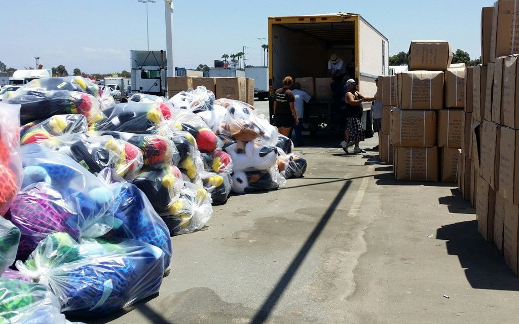 Unloading stuffed animals