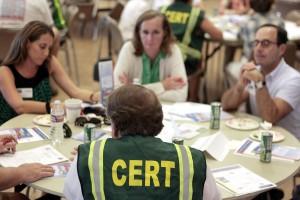 CERT volunteers and CdM residents talk about emergency preparedness in their neighborhood.