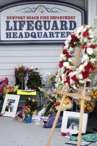 A tribute memorial for Ben Carlson at the lifeguard headquarters