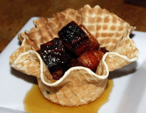 Bacon waffle bowl at Leroy's