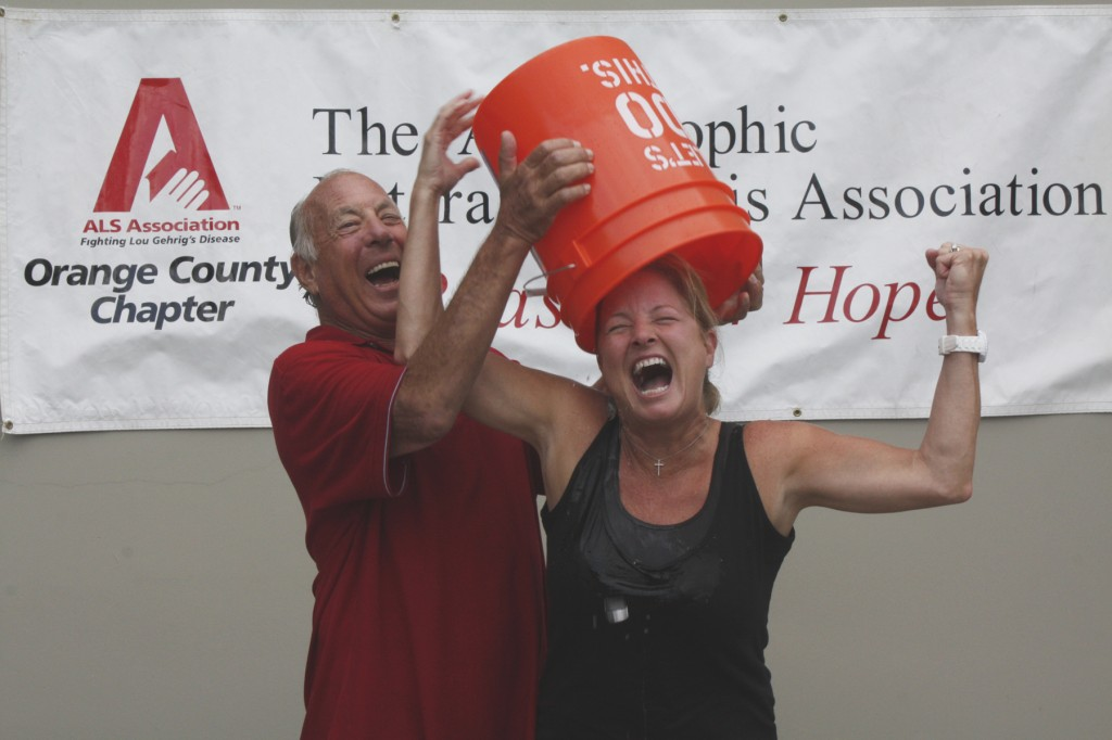 Ralph Rodheim helps Indy columnist Lynn Selich take the Ice Bucket Challenge. — All photos by Christopher Trela ©