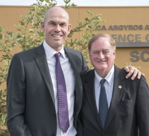 Sage Hill School President Gordon McNeill (left) and city councilman Keith Curry. — Photo by Charles Weinberg ©