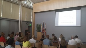 Assistant City Engineer Michael Sinacori gives a presentation to Corona del Mar residents Wednesday about the CdM entry project. — NB Indy Photo ©