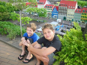 Wyatt Fales and Derek Mayer take a break at Legoland in Denmark, near the mini scene of Copenhagen