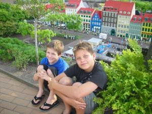 Wyatt Fales and Derek Mayer take a break at Legoland in Denmark, near the mini scene of Copenhagen