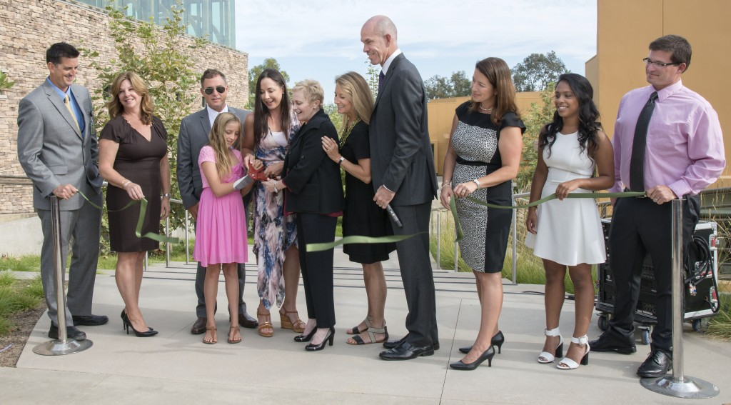"Officials cutting the ribbon to the new Lisa Argyros and Family Science Center at Sage Hill School on Monday (left to right):Sage Hill Science Department Chair Kerry Langdale, Sage Hill trustee Madaline Gordon, John Massa (Lisa Argyros' husband), Sylvia Mitchell (Lisa Argyros' daughter), Lisa Argyros, Chair of the Sage Hill School Board of Trustees Christy Marlin, Sage Hill trustee Vicki Booth, Sage Hill President Gordon McNeill, Sage Hill Head of School Patricia Merz, Student Body President Rachana ""ChaCha"" Pillai, and Sage  Hill science teacher Todd Haney. — Photo by Charles Weinberg ©"