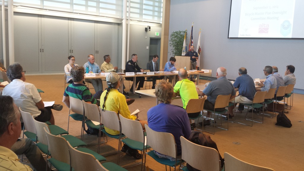 The crowd listens to Brad Sommers, senior civil engineer in the city's Public Works Department, present the final draft of the Newport Beach Bicycle Master Plan during a BMP Oversight Committee meeting on Tuesday. — NB Indy photo ©