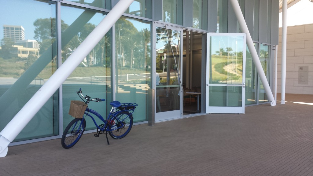 A bicycle stands outside the Community Room at the Civic Center during the Newport Beach Bicycle Master Plan Oversight Committee meeting. — NB Indy photo ©