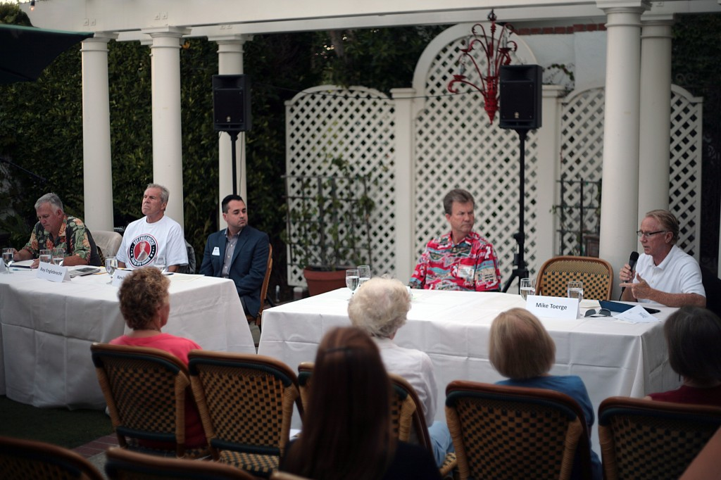 City Council candidates (left to right) Tim Brown, Roy Englebrecht, Kevin Muldoon, Scott Peotter and Michael Toerge answer questions at Newport Beach Women's Democratic Club's forum last week.  — Photo by Sara Hall ©