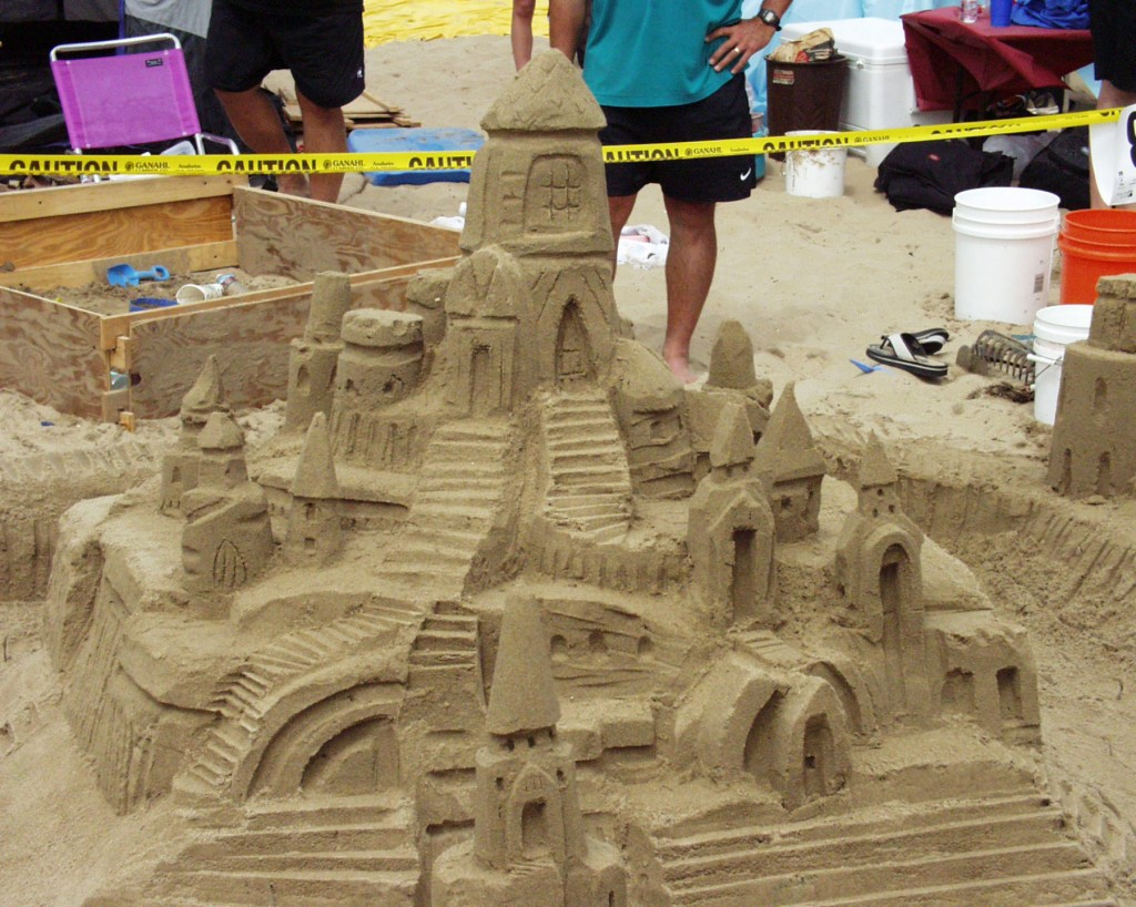 A finished sandcastle during the Annual Sandcastle Contest at Corona del Mar State Beach in 2013. This year's competition will be held on Oct. 5. — Photo courtesy Newport Beach Chamber of Commerce