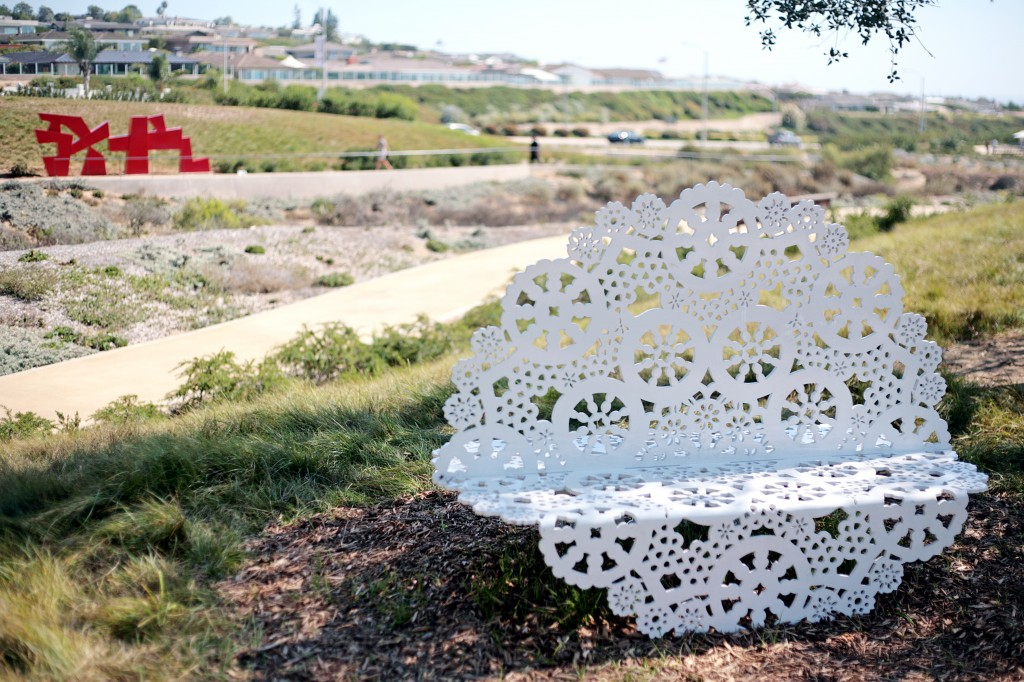Jennifer Cecere's Double Doily bench provides a nice view of the rest of the Civic Park. — Photo by Sara Hall ©