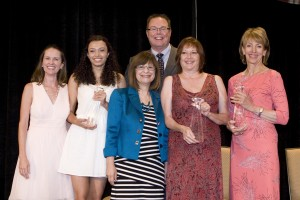 Diamond Award Winners Nicole Morris, Diane Cranley and Bobbie Dauderman with Kelly Kannwischer & Dr. Michael J. Beals. Photographer: Ann Chatillon