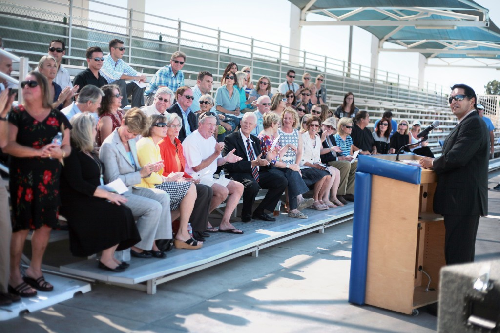NMUSD Superintendent Dr. Frederick Navarro introduces notable guests in attendance at the CdM aquatics center unveiling ceremony Tuesday. — Photo by Sara Hall ©