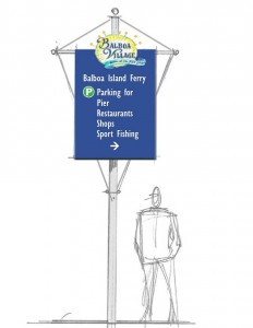 An artist's rendering of a directional sign. — Photo courtesy city of Newport Beach ©