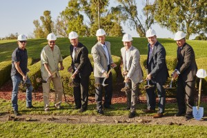 Representatives from the Newport Beach Chamber of Commerce, City Council, and Newport Beach Country Club break ground on the new clubhouse.