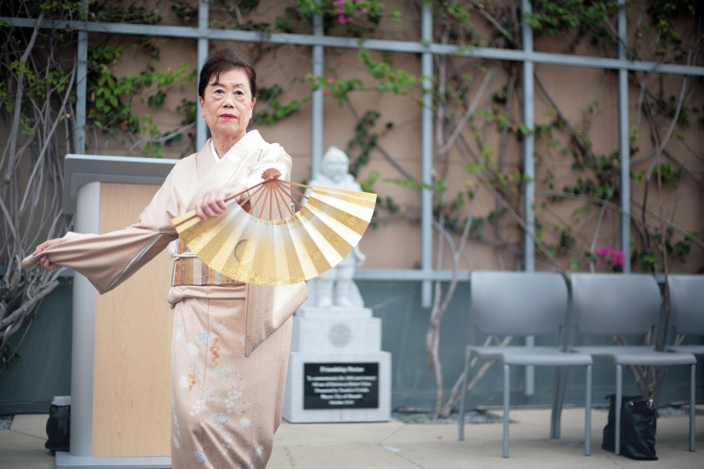 "The ceremony concluded with a traditional Japanese dance ""Crane and Turtle"" performed by Kyoko Kamio. The dance signifies a wish for peace and prosperity. — Photo by Sara Hall ©"