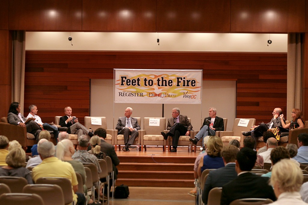 City council candidates and journalists discuss hot topics concerning Newport Beach on Wednesday during the Feet to the Fire Forum. (left to right) Jack Wu, former Indy columnist and now with the Orange County Register, Norberto Santana Jr., editor-in-chief of Voice of OC,  candidates Michael Toerge (district 6), Rush Hill (district 3), Tim Brown (district 4), Roy Englebrecht (district 4), John Canalis, F2F co-creator and Daily Pilot editor, and F2F co-creator and moderator and Daily Pilot columnist Barbara Venezia. — Photo by Sara Hall ©