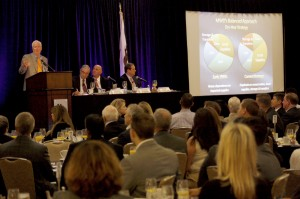 Richard Atwater addresses the audience at the Economic Forecast breakfast